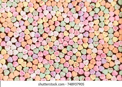 Background of Valentine conversation heart candies