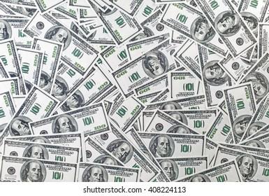 Background from a variety of one hundred dollar bills. Many dollars. Money background. Fake money.