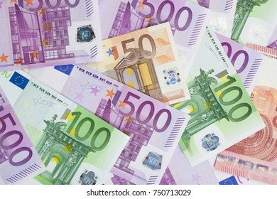 Background with various Euro bills