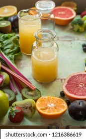 Background with various fresh fruits and vegetables and juice - mausami juice