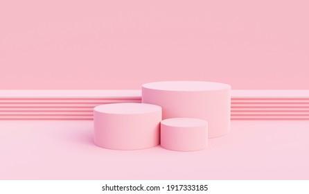 Background vector 3d pink rendering with podium and pedestal pink scene, minimal scene background 3d rendering product pedestal pink pastel scene. Stage 3d for product pedestal in pink platform studio - Shutterstock ID 1917333185