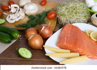 background with vegetables and salmon