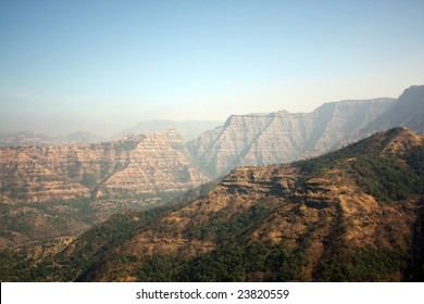 A background with a view of the beautiful Sahyadri mountain ranges that cover the western ghats in India.