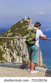 background view of a young man on an observation deck on a Gibraltar rock, gibraltar, europe