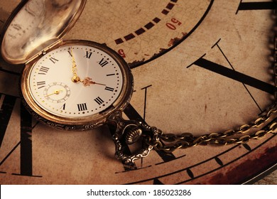 background with vintage clocks