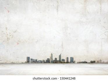 Background vintage image with modern city illustration