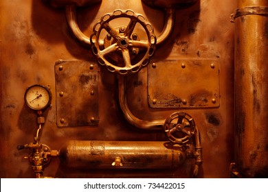 background vintage steampunk from steam pipes and pressure gauge