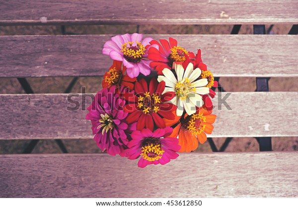Background vintage style with colorful zinnia flower in vase.