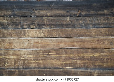 Background - a wall of old wooden house. Worn, old wood.