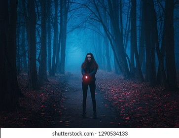 Background for wallpaper. Girl stands on the road in the night forest and shines a lantern. Mystical Strange forest in a fog with red leaves. Background mystic atmosphere. Dark mysterious park