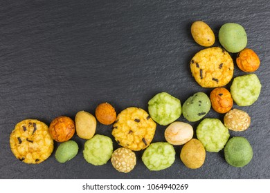 background of wasabi rice cracker with coated peanuts