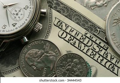 Background with watch and money