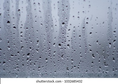 Background with water drops on the glass. Water vapor on the window