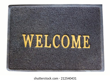 background of welcome carpet on isolated