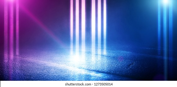 The background of wet asphalt, the reflection of the night lights of the city, neon light, smoke