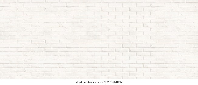 Background of white brick wall horizontal for design cement texture for pattern and backdrop. display products for background for interior design  websites and loft office style.