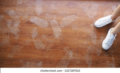 Background of white footmarks, Gray footprints of human shoes, Sign of steps.