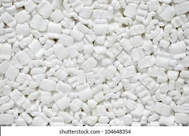 Background, white styrofoam pellets