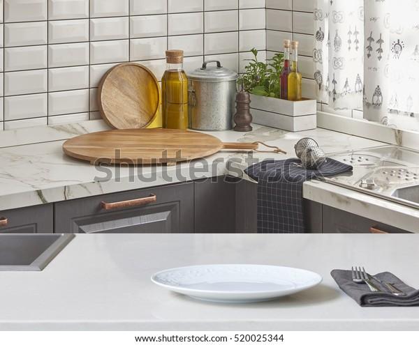 Background White Table Modern Kitchen Accessories Stock ...