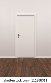 Background White Wall with parquet floor and white door