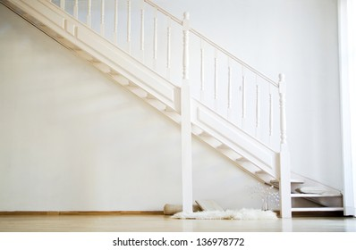 background from white wooden stairs