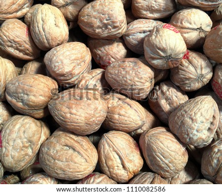 Background of whole walnuts