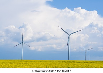 Background with a windmill