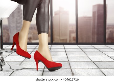 background of woman legs and floor and window place