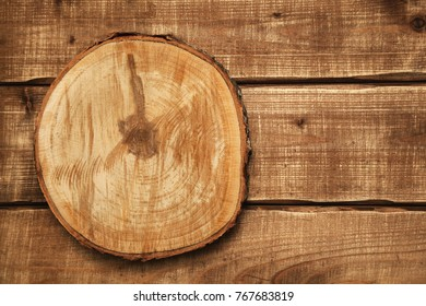 Background, wood texture, free space for creativity. Circular saw cut wood. wood slice cross section
