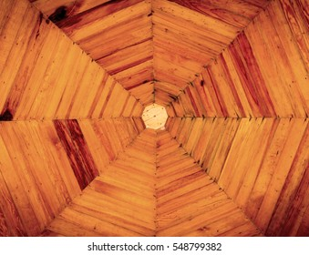 Background, Wooden ceiling octagon home design with sepia filter.