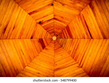 Background, Wooden ceiling octagon home design.