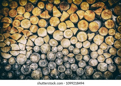 Background of wooden logs. Year rings. Wood industry. Deforestation theme. Woodpile scene. Analog photo filter with scratches.