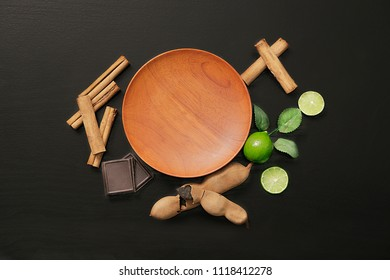 Background of wooden plate and still life