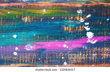 Background. Wooden surface painted. The texture of wood, strokes of colored paints. Empty space. Bright color background