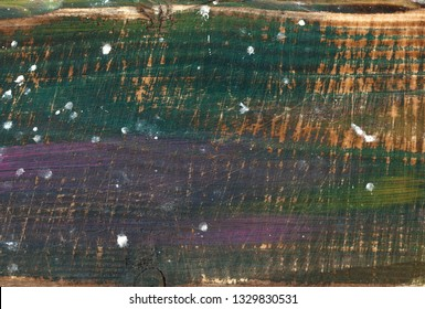 Background. Wooden surface painted. Wood texture, paint strokes. Empty space