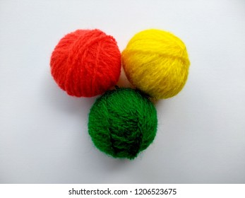 Background of wool yarn, knitted yarn, can also be used as a yarn frame. Knitting yarn for handicrafts isolated on white background.