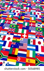 background of world flags, participants to 2010 soccer cup