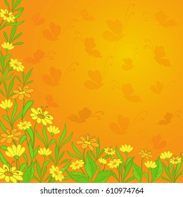 Background with yellow flowers and butterflies silhouettes