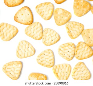 Background of yellow salty crackers