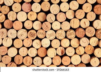 Backgrounds of corks ends, one consisting only of corks with dates 1995-2005