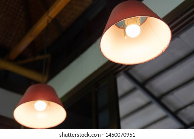 Backgrounds electric lamp in the restaurant