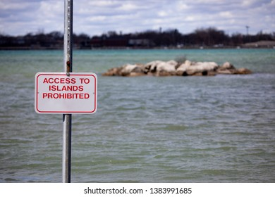 Backgrounds Landscapes Riverfront Island Warning Access Prohibited