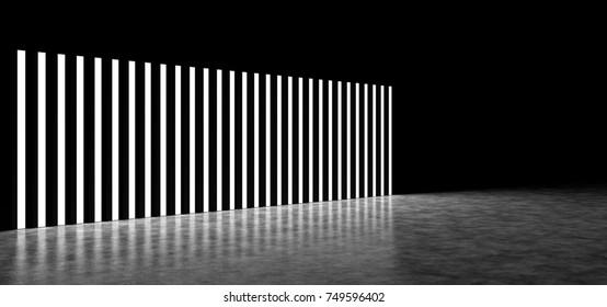 Backgrounds of luminous vertical strips. 3D Render