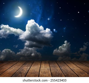 backgrounds night sky with stars, moon and clouds.  wood