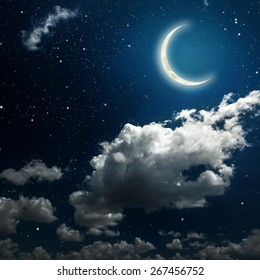 backgrounds night sky with stars, moon and clouds. Elements of this image furnished by NASA