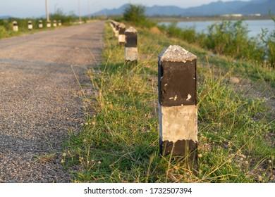 Backgrounds pole on Roadside reservoir