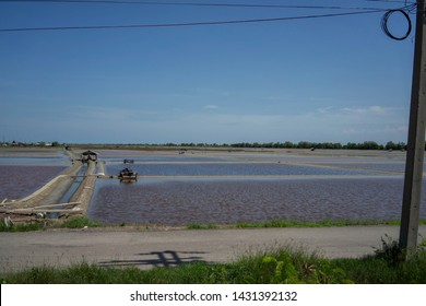 Backgrounds Salt fields Mahachai Thailand