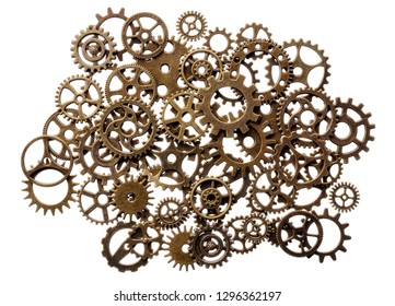 Backgrounds and textures: assorted group of brass pinions, industrial abstract