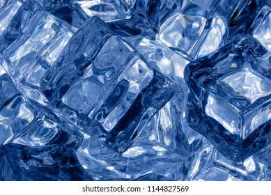 Backgrounds and textures: big group of ice cubes, closeup shot, abstract background