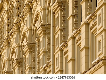 Backgrounds and textures: building facade, decorated exterior wall
